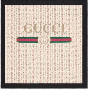 🛍 FLAWED Gucci Logo rose print silk scarf